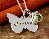 Hand Stamped Mommy Necklace - Personalized Sterling Silver Jewelry - My Lilttle Butterfly with birthstone