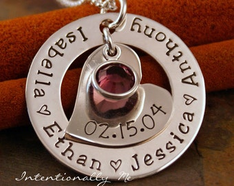 Hand Stamped Mommy Jewelry - Personalized Necklace - Sterling Silver Necklace - Hand Stamped Washer - In My Heart