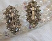 Bogoff Crystal Earrings / Bogoff Rhinestone Earrings / Signed Bogoff Earrings / Round and Baguette Crystal Earrings