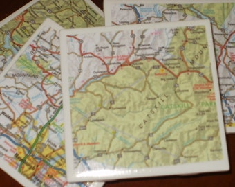Map Coasters - Catskill Mts Coasters...Set of 4..l. Full Cork Bottoms NOT Felt...For Drinks or Candles