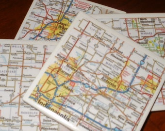 Map Coasters - Indiana Map Coasters...Including Indianapolis and Fort Wayne...Set of 4...For Drinks and Candles