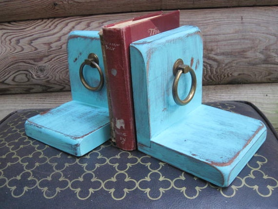 Wooden Book Ends in Bright Blue