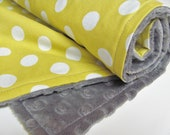 Yellow Baby Blanket, Polka Dots and Minky Dot, Choose Grey or White