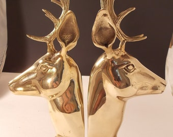 Vintage Large Hollywood Regency Brass Antelope Impala Deer Bookends