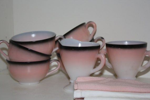 Hazel Atlas Black Flamingo Milk Glass Sugar Creamer and Cups Set