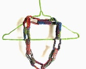 Crochet necklace cotton wool crochet rings cozy multicolor modern crochet blue lime grey pink - perlinedisaggezza