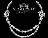Bridal Jewelry Pearl Necklace-  Vintage L' Amour Luxe- Swarovski Crystal and Pearl