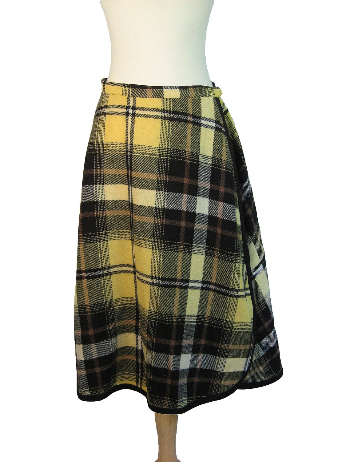 1950s early 1960s plaid pendleton skirt wool wrap skirt