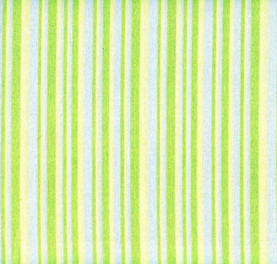 SALE Lemon Yellow Fabric Stripe Periwinkle Blue Lime Green Fabric Fat Quarters - also BTY Cotton Quilting Fabric Craft Supplies YacketUSA