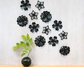 Wall Decor Flowers, Black Blossoms, Pop-up, Set of 12, Made in Canada, Black Flowers, Wall Art Flowers, 3-D Flower Art, Flower Decor
