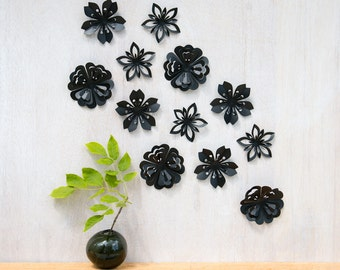 Wall Decor Flowers, Black Blossoms, Pop-up, Set of 12, Made in Canada