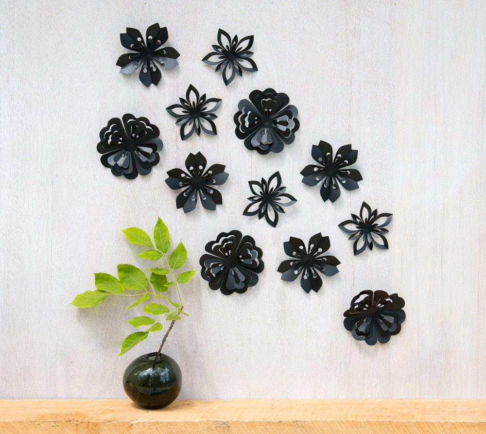 Wall decor flowers black blossoms pop up set of 12 made in for Pop wall art