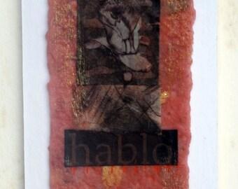 Cadmium Red Flower Encaustic Bookmark