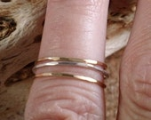 Set of 3 Teeny Tiny Delicate Thin Stacking Rings In Sterling Silver & 14K gold filled SRAJD
