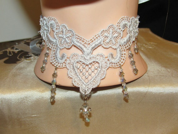 Embroidered Silver Lace & Swarovski Crystal Choker Necklace