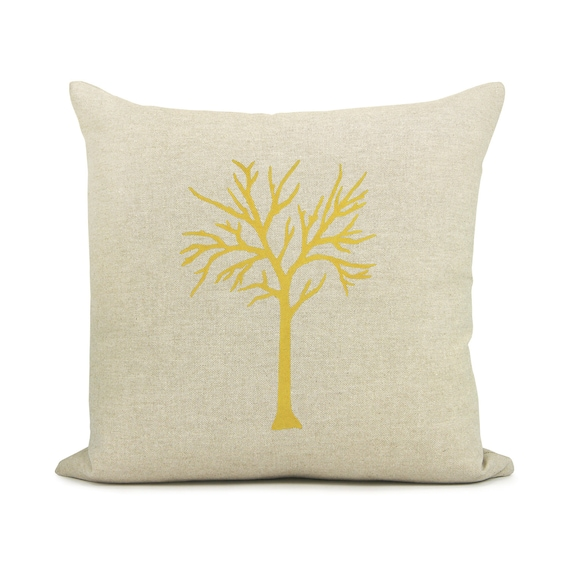 16x16 tree or birds decorative pillow case - Modern home decor - Beige, mustard yellow, gray and geometric diamond accent cushion cover