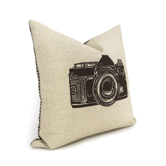Vintage Throw Pillow Covers 18x18 : Items similar to Vintage camera pillow cover, Decorative pillow for couch - Brown camera print ...