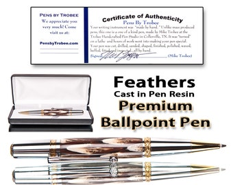 Handmade ballpoint pen with feathers encased in pen resin Swarowski crystal in clip comes with case polished to perfection