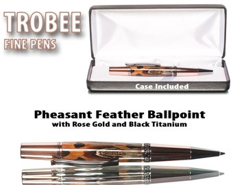 Feather pen ballpoint - Small for womens hands perfect gift for girlsfriend  or gift for wife sized world class quality writing instrument