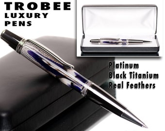 Encased in acrylic pen resin are gorgeous purple feathers - twist ballpoint style fine writing instrument gift for woman Feather pen