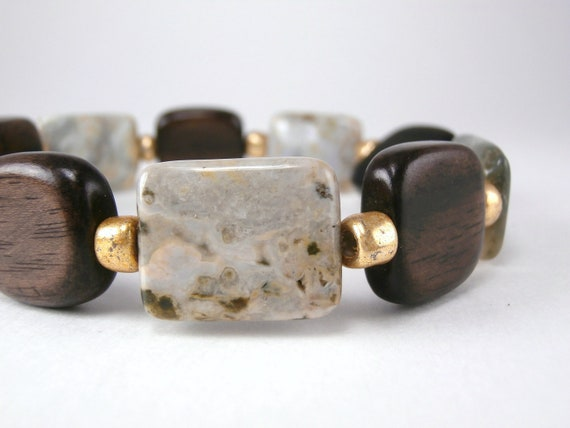 Wood and Stone Stretch Stacking Bracelet Ocean Jasper Autumn Fall