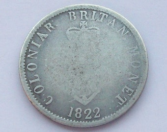 1822 Anchor Money Coin West Indies Silver Quarter Two Real