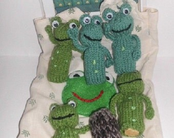 5 frog finger puppets with  log in bag  teaching resource, story sack  rhyme