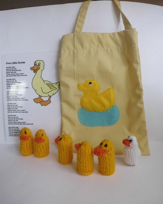 5 ducks finger puppets with Mama duck in bag  teaching resource, story sack  rhyme