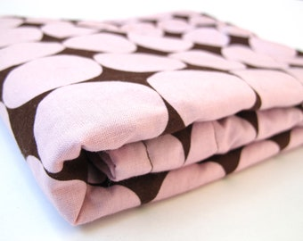 Pink and Brown Polka Dot Baby Blanket - Disco Dot by Michael Miller - Chocolate Minky Dot - 26 x 30