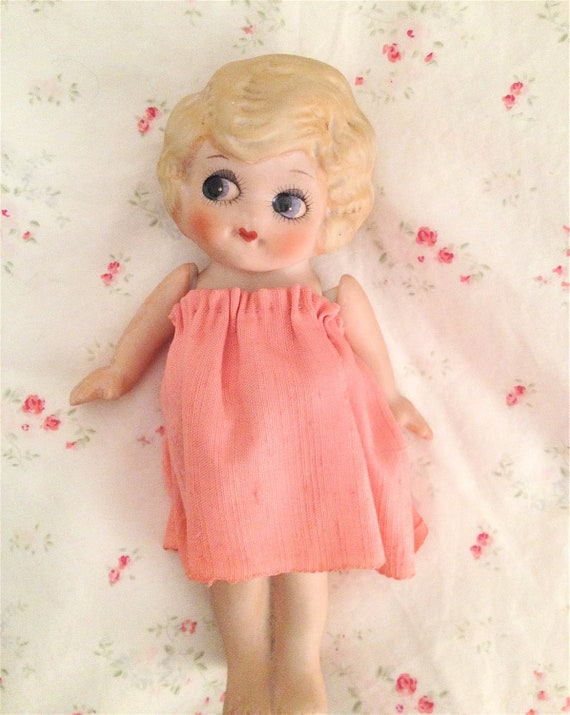 Vintage 1920's Bisque Kewpie Doll-Pink Dress