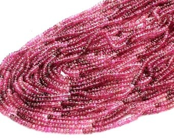 Full 14 Inch Pink Tourmaline Faceted Rondelles - Size -2.5-3Approx