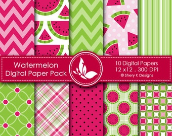 Watermelon Paper Pack - 10 Printable Digital Scrapbooking papers - 12 x12 - 300 DPI