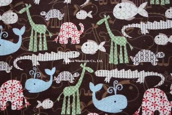 Kawaii Baby Cotton Flannel Fabric - Hello Animals