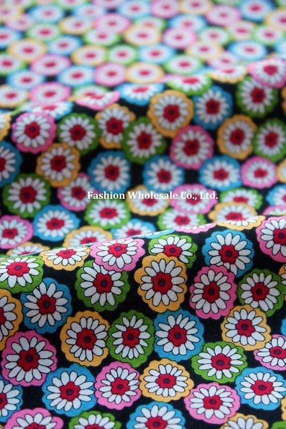 Kawaii Bamboo Cotton Fabric - Corlorful Daisy