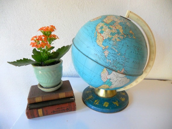 Vintage Tin Globe, Ohio Art Co Small Colorful Metal Globe, Shabby, with Astrological Astronomy Signs on Base, late 1950s