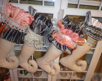 Collection of Custom Ordered Fabulous Holiday Stockings/ SOLD
