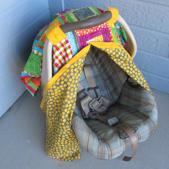 Colorful Infant car seat canopy - patchwork car seat cover - 2 in 1 gift - nursing cover