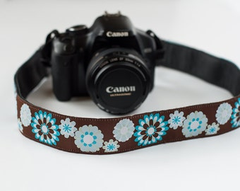 Psychedelic Flowers Turquoise, Light Blue, White on Brown Woven Ribbon Covered Camera Strap EXTRA LONG
