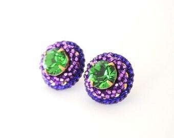 Green stud earrings - purple stud earrings - green purple statement earrings - lavender fall bridal bridesmaid big stud earrings unique gift