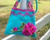 Ready To Ship...Fun, small shoulder purse, handknit,felted,wet felt flowers