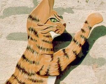 SALE-Wall Art- Orange Tabby Cat- Folk Art Painting- 21 x 16  inches  53 x 40 cm