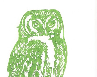 Eco Owl Linocut- Green Upcycled Original Art- - 4x6 inches- Signed Edition of 50- Custom Colors