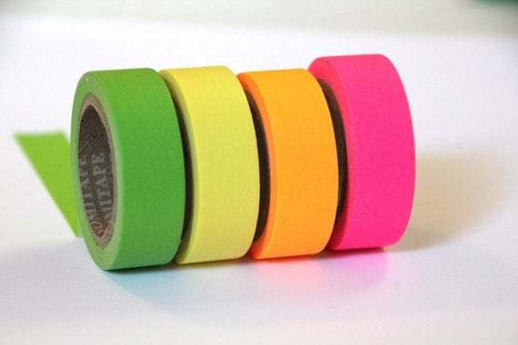 30% OFF SALE - Set of 4 Rolls of Neon Pink, Yellow, Orange, & Green Masking Tape / Japanese Washi Tape (.60 inches x 33 feet)