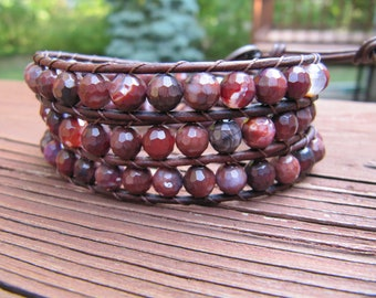Triple Beaded Leather Wrap Bracelet with Faceted Red and Brown Agate