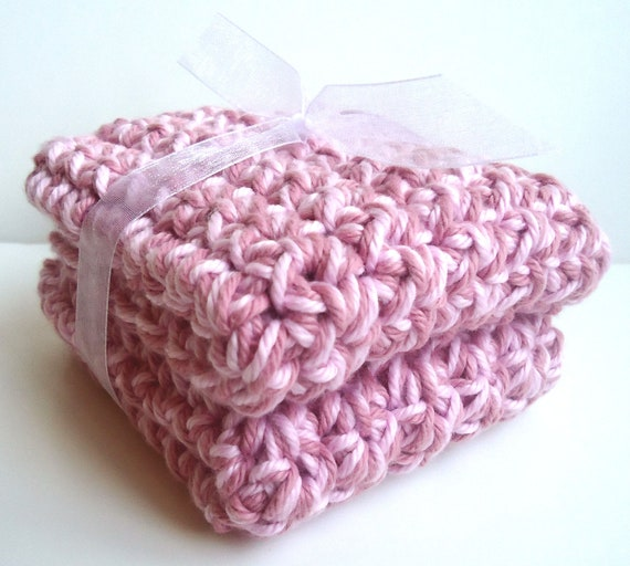 CLEARANCE - Crochet Dishcloths Washcloths - Luxurious & THICK  - Set of 2 - For Kitchen or Bathroom - Mauve, Pink - 100% Cotton