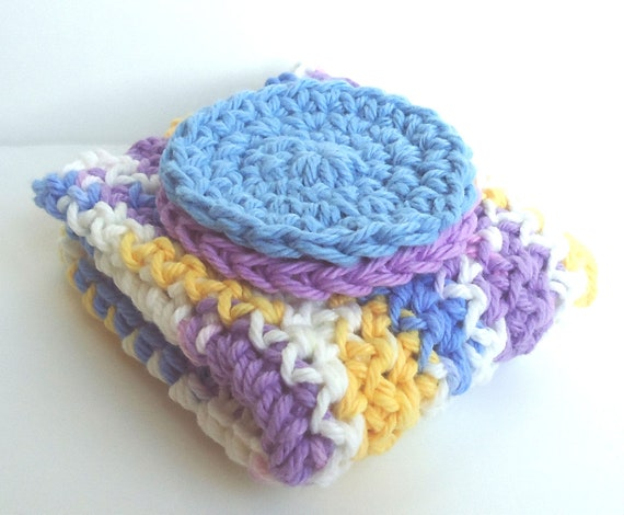 CLEARANCE - Crochet Dishcloth Washcloth Set  - 1 Cloth & 2 Scrubbies - For Kitchen or Bathroom - White, Blue, Purple, Yellow - 100% Cotton