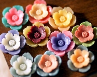 20pcs  15mm  3D  Resin  Flower Mixed Colors