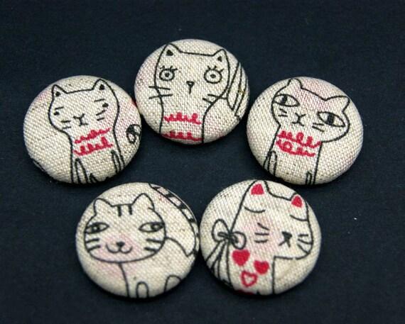 5pcs 25mm Handmade  Flat back   Fabric Button Cabochon  Cat Series