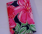 Passport cover made with Lilly Pulitzer Fabric Hotty Pink Bright Navy Bellina