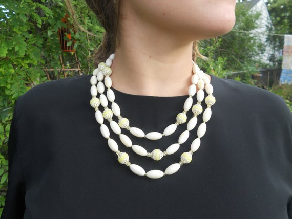 Triple Strand Ivory Necklace, Vintage Necklace